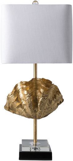 Adria Table Lamp-Luxe shell lamp in gold or cement finsh