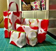 Oilcloth Zippered Bag Sets ~ by Angie Boutique