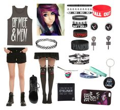 """""""Emo """" by bandsaremylife714 ❤ liked on Polyvore featuring T.U.K. and Disney"""
