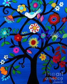 Naomi's Tree of Life by Pristine Cartera Turkus Whimsical Tree, BLOOMS,FLORALS,FLOWERS,MEXICAN,ART,FOLK ART, PAINTING, STILL-LIFE,PRISARTS,PRISTINE,CARTERA-TURKUS,WHIMSICAL, BEST-SELLER,POPULAR,SALE,NURSERY,BEDROOM,DESIGN,INTERIOR DESIGN, DECOR, HOME, HOUSEWARMING, GIFT, PRESENT