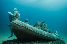 Hyperrealistic Human Sculptures Submerged in Europe's First Underwater Art Museum