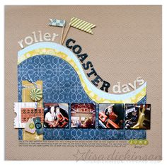 roller coaster days layout, Great idea for all those amusement park visit pics! Vacation Scrapbook, Disney Scrapbook, Scrapbook Paper Crafts, Scrapbook Cards, Scrapbook Photos, Scrapbook Sketches, Scrapbook Page Layouts, Scrapbooking Ideas, Journaling