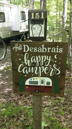 PERSONALIZED HAPPY Campers Sign/VALENTINE Gift/Trailer Name | Etsy