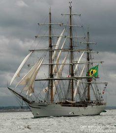 """The Brazilian Clipper """"Cisne Branco"""" under staysails."""
