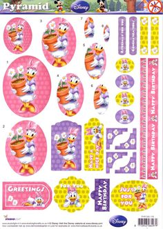 A4 3D StudioLight die cut pyramid decoupage - Disney - Daisy Duck #176