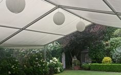 10m x 10m marquee roof with paper lanterns for hire
