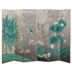 Exceptional Hand-Painted 6-Panel Screen with Silver Leaf
