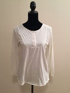 J. Crew White & Gray Dots Henley Top Size Small #JCrew #KnitTop #Casual