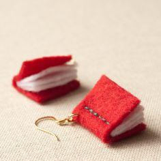 Book Earrings - Red Felt - Writers - Eco - Vegan - Librarian - Nerd. $28.00, via Etsy.