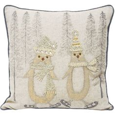 Whether you prefer traditional Christmas themed interiors or a more modern take the Advent cushion cover has you covered. With a linen style front beautifully adorned with hundreds of sequins and beads it adds a glam twist on conventional holiday themed cushions. The Skating Penguin cushion cover features two adorable penguins testing out their skates together. Complete with silver piped edges and a hidden zip closure for an extra touch of luxury.