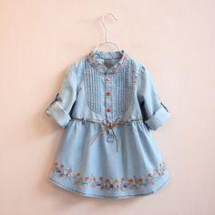 29.91$  Watch now - https://alitems.com/g/1e8d114494b01f4c715516525dc3e8/?i=5&ulp=https%3A%2F%2Fwww.aliexpress.com%2Fitem%2FTrend-Children-s-Garment-2016-Girl-Spring-Clothes-Children-Embroidery-Belt-Cowboy-Skirt-Girl-Baby-Fashion%2F32735333422.html - Trend Children's Garment 2016 Girl Spring Clothes Children Embroidery Belt Cowboy Skirt Girl Baby Fashion Dress Jacket Skirt