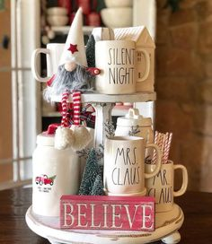 Easy DIY Indoor Christmas Decor and Display Ideas, Ways To Decorate Your Tiered Tray For Christmas, Kitchen Counters, or Fireplace Mantle Decorating, Christmas Decor Farmhouse Christmas Decor, Christmas Kitchen, Rustic Christmas, Christmas Home, Christmas Holidays, Coffee Table Christmas Decor, Christmas Mantles, Christmas Ornament, Christmas Ideas