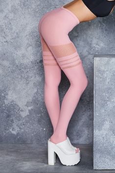 Sporty Stripes Baby Pink Hosiery - LIMITED
