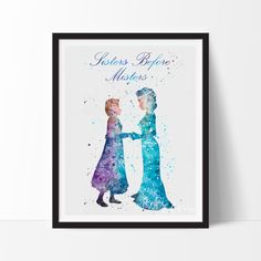 Princess Elsa and Anna Frozen Watercolor Art. This art illustration is a composition of digital watercolor images and silhouettes in a minimalist style.