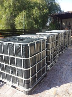 Rainwater Harvesting - IBC totes wrapped in 6mm plastic - The Greenman Project