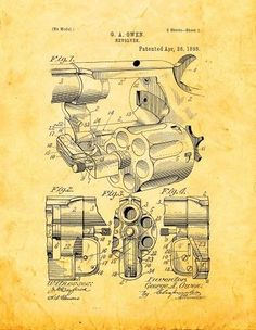 'Owen Revolver Vintage Patent' Blueprint Graphic Art on Wrapped Canvas Robot Concept Art, Weapon Concept Art, Patent Drawing, Sketch Inspiration, Patent Prints, Homemade Weapons, Graphic Art, Firearms, Poster Prints