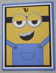 Minion Birthday Card I made for my grandson's 4th birthday following the directions on Carolyn Sloan's blog!