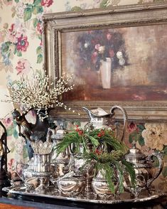 For a simple yet festive touch, highlight an heirloom tea service with sprigs of fresh greenery. Natural elements offer a pleasing contrast to gleaming silver while imbuing the dining room with woody fragrance. Christmas Tea Party, Vintage Christmas, Christmas Time, Christmas Blessings, Coastal Christmas, Elegant Christmas, Christmas Ideas, Silver Christmas Decorations, Christmas Tablescapes