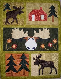 The Prairie Grove Peddler offers everyday pieced and applique quilt patterns Quilt Baby, Small Quilts, Mini Quilts, Moose Quilt, Canadian Quilts, Moose Crafts, Hunting Crafts, Craft Font, Wildlife Quilts