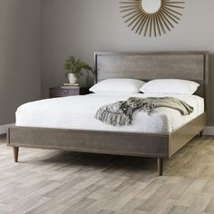 Vilas Light Charcoal Queen Mid-century Style Bed | Overstock.com Shopping - The Best Deals on Beds $540