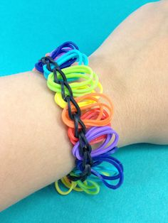 A fun rainbow colored bandaloom bracelet! #rainbow #bands #loom