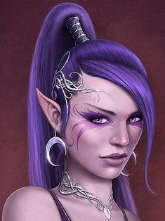 She Elf with Purple Hair