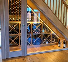 Wine Rack Design, Cellar Design, Under Stairs Wine Cellar, Oak Wine Rack, Wine Racks, Home Wine Cellars, Escalier Design, Home Stairs Design, Hallway Designs