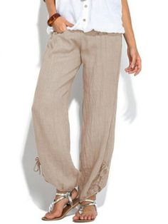 Buy Women Casual Loose Linen Trousers Solid Color Sport Yoga Comfortable Women Pants at Wish - Shopping Made Fun Plus Size Jumpsuit, Plus Size Pants, Loose Pants, Wide Leg Pants, Knit Pants, Skinny Pants, Jeans Pants, Yoga Harem Pants, Casual Jumpsuit