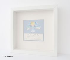 Taufgeschenke, Babygeschenke, Schutzengel Bild, Druck kleiner Engel blau 1