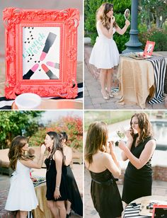 A Little Black Dress Bridal Shower with a Lipstick Bar. Everyone in black, bride in white! Bridal Shower Photos, Gold Bridal Showers, Bridal Shower Games, Bridal Shower Decorations, Chic Wedding, Wedding Events, Dream Wedding, Wedding Blog, Wedding Ideas