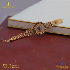 A beautiful bracelet perfect for you. Get in touch with us on Gold Bangles Design, Gold Jewellery Design, Gold Jewelry Simple, Simple Necklace, Necklace Set, Hand Jewelry, Antique Jewelry, Antique Gold, Women Jewelry