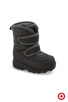 The toddler boys' Nixon winter boots stand up to snow, slush and cold temperatures as low as -10 degrees Fahrenheit. The treaded sole helps maintain a grip on slippery surfaces, while the adjustable strap and cushioned tongue and insole keep little footsies cozy.