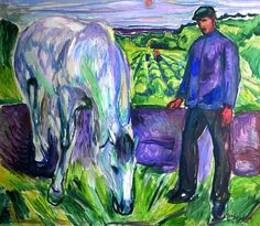 Man with Horse Edvard Munch - 1918