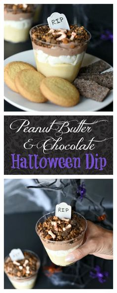 Peanut Butter & Chocolate Dessert. This is such a delicious dessert and it is so fun and festive. #halloween #food #dessert Halloween Dip, Fun Halloween Treats, Halloween Chocolate, Holiday Treats, Holiday Recipes, Halloween Ideas, Chocolate Pudding Cookies, Chocolate Graham Crackers, Chocolate Peanut Butter