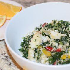 @KellDuckKan » Lemon Garlic Quinoa, Spinach & Orange Roughy Bowl #healthyrecipes #weightloss #cleaneating