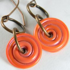 GMD Lampwork Glass Bead Earrings CORAL PIXIE SPINNERS copper artisan SRA