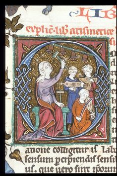 Detail of historiated initial with a woman playing bells and other musicians.