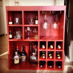 DIY Liquor and wine cabinet with wine glass rack