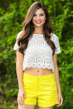Obsessed! These yellow polka dotted shorts have functional front and back pockets. Repin if you love!