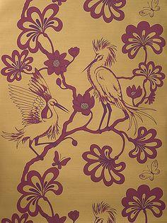 Florence Broadhurst 'Egrets' RF94 wallpaper in Rhubarb Red, Opera and Tan Silk Slub