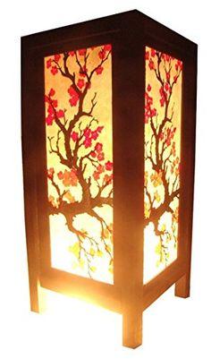 Thai Vintage Handmade Asian Oriental Japanese Sakura Flower Bedside Table Light or Floor Wood Paper Lamp Shades Home Bedroom Garden Decor Modern Design from Thailand Red berry Thailand Lanna Lamp