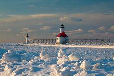 St. Joseph Light Winter Scene