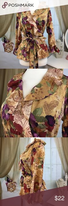 "Chaps Floral Wrap Blouse Beautiful floral wrap blouse by Chaps. 100% cotton. Great condition. Size XL.  Bust measured flat armpit to armpit 19"" and length 24"".  TP514 LOC-1 Chaps Tops Blouses"
