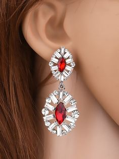 Faux Crystal Rhinestone Waterdrop Earrings #CLICK! #clothing, #shoes, #jewelry, #women, #men