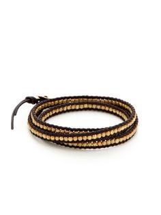 Leather & Gold Indian Bead Wrap Bracelet by Chan Luu on Gilt.com