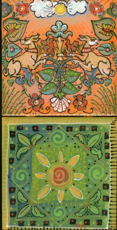 Pam Marwede tiles. Handpainted fabric, furniture, floorcloths, pillows, ceramics, murals
