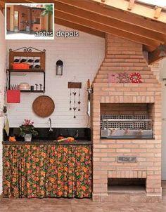 Resultado de imagem para transformar área de serviço em área de churrasco e lazer Barbecue Area, Bbq Grill, Grunge Bedroom, Brick Bbq, Wood Fired Oven, Small Places, Terrazzo, Home Projects, Future House