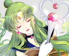 Sailor Pluto fan art~ Close up on her staff, in the resemblance of a heart to reflect her true intentions are only from the heart because she cares.