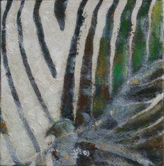 Kraaienportret, zebrakraai olieverf op paneel, 22 x 22