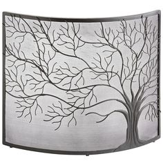 Hand forged builtin fireplace screen with customized tree motif